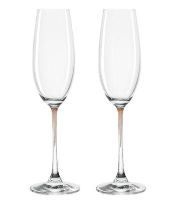 Arts de la table - Verres  - Flûte à champagne La Perla / Set de 2 - Leonardo - Marron - Verre Teqton®