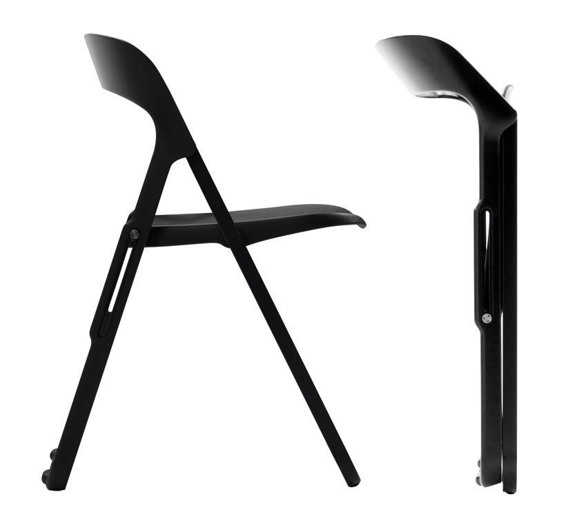 Chaise pliante bek polypropyl ne et structure m tal noir for Casa chaise pliante