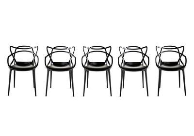 fauteuil masters kartell plastique noir made in design. Black Bedroom Furniture Sets. Home Design Ideas