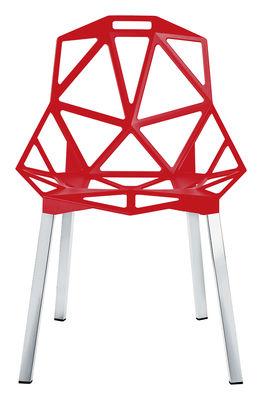 Möbel - Stühle  - Chair one Stapelbarer Stuhl - Magis - Rot - Aluminium anodisé poli, Fonte d'aluminium verni