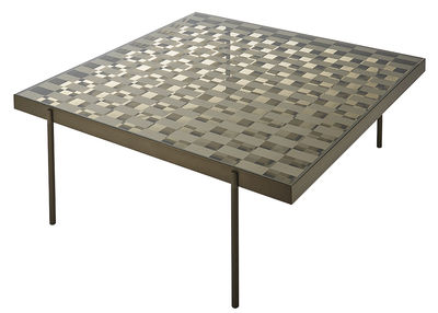 Mobilier - Tables basses - Table basse Fragment / Verre motif damier - 104 x 104 cm - Glas Italia - Damier bronze & transparent - Aluminium peint, Verre extra-clair trempé