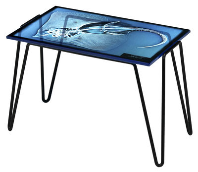 Arredamento - Tavolini  - Tavolino d'appoggio Xradio 1 Razza di Diesel with Moroso - Stampe Razza/Fondo blu - Acciaio laccato, Vetro