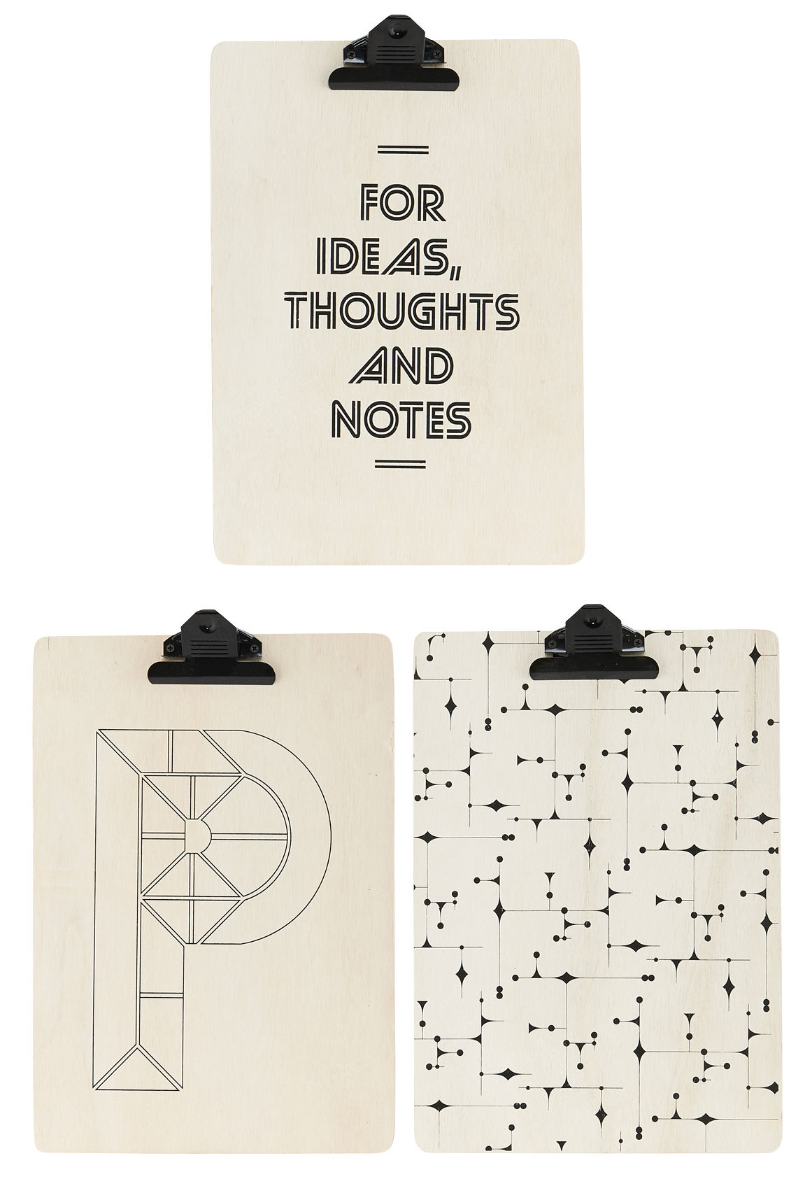 big thoughts clip board set of 3 a4 size big thoughts by house doctor. Black Bedroom Furniture Sets. Home Design Ideas