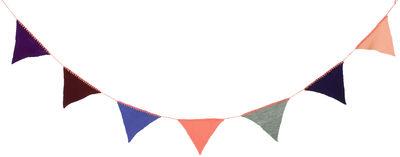 Guirlande Happy Flags / En tricot - L 240cm - Ferm Living multicolore,pêche en tissu