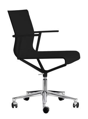 Mobilier - Fauteuils de bureau - Fauteuil à roulettes Stick Chair / Assise cuir - ICF - Cuir noir / Base alu poli - Aluminium, Cuir, Thermoplastique