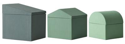 Déco - Boîtes déco - Boîte Modern Houses / Set de 3 - Tissu - Fait main au Népal - Menu - Vert - Carton, Coton