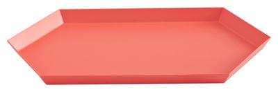 Arts de la table - Plateaux - Plateau Kaleido Medium / 33,5 x 19,5 cm - Hay - Rouge - Acier peint
