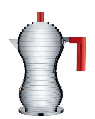 Cuisine - Cafetières - Cafetière italienne Pulcina / 3 tasses - Alessi - Chromé / Rouge - Fonte d'aluminium, Plastique