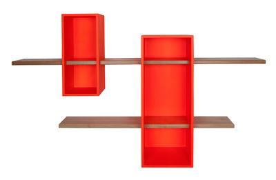 Foto Scaffale Max - / Doppio - 2 scaffali + 2 ripiani / Colore esclusivo di Compagnie - Arancione fluorescente - Legno