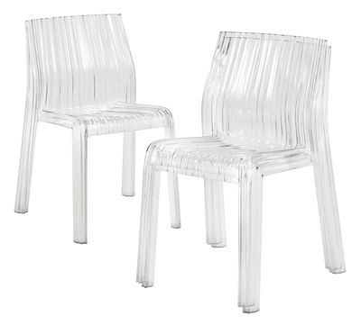 Chaise empilable frilly transparente polycarbonate for Chaise transparente kartell
