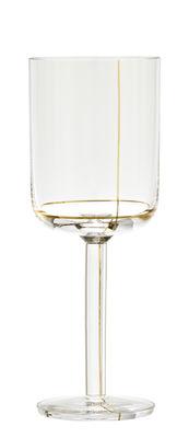 Verre à vin blanc Colour Glass / Lignes dorées - 30 cl - Hay or,transparent en verre