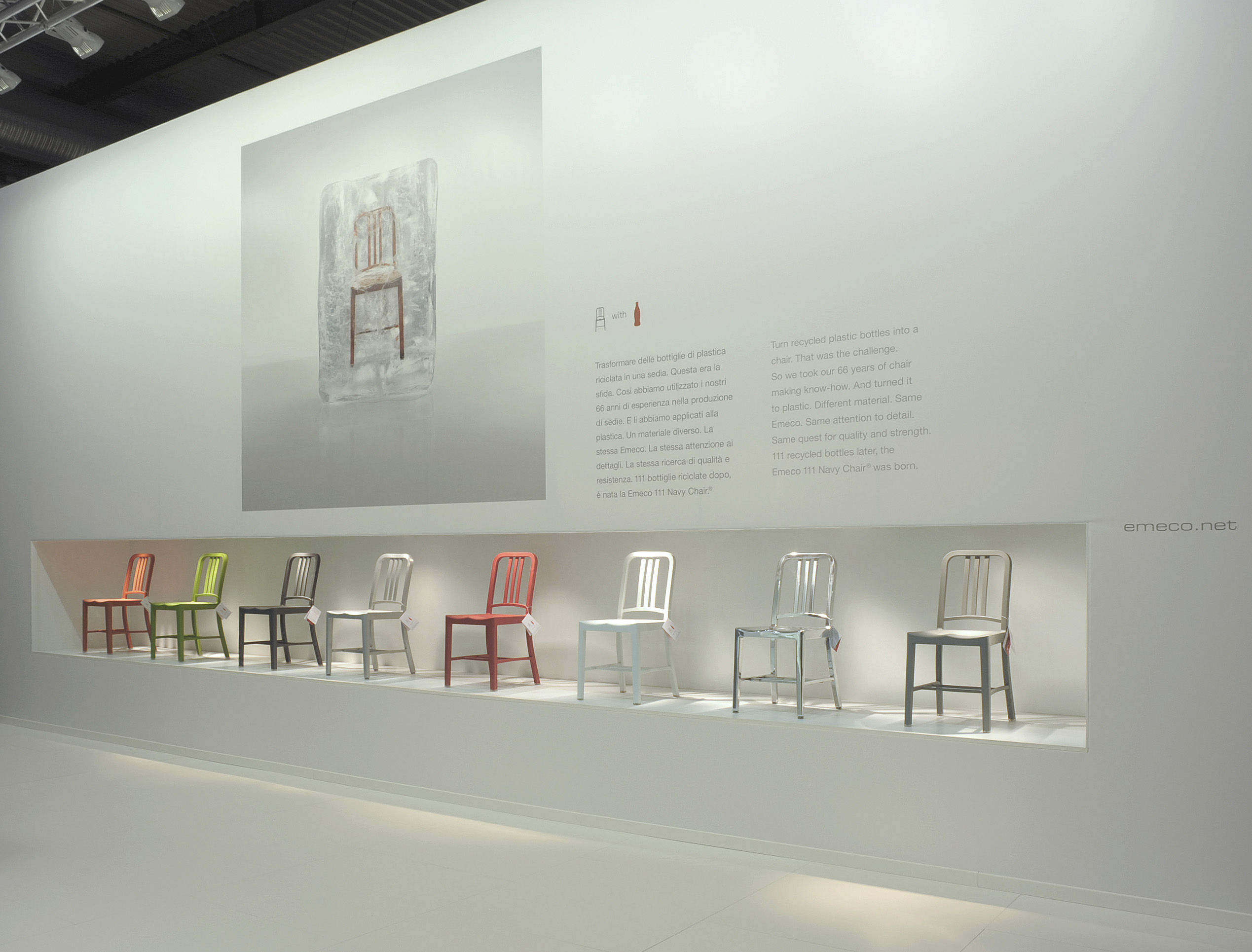 111 Navy chair Chair Recycled plastic Red by Emeco
