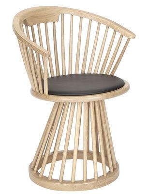 Chaise Fan / H 78 cm - Bois & cuir - Tom Dixon bois naturel en cuir