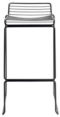 Furniture - Bar Stools - Hee Bar stool - H 75 cm - Metal by Hay - Black - Lacquered steel