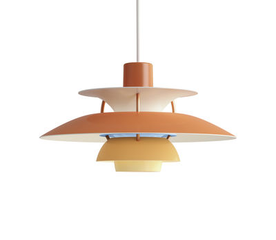 Luminaire - Suspensions - Suspension PH5Mini / Ø 30 cm - Louis Poulsen - Orange / Tiges bronze - Aluminium