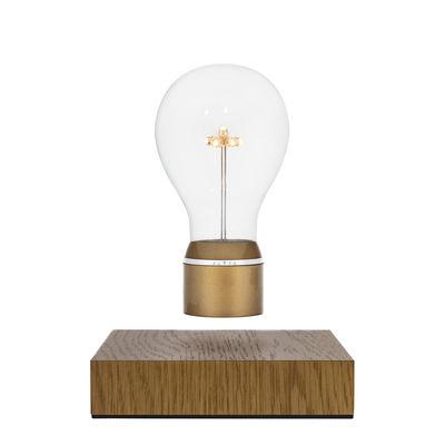 Leuchten - Tischleuchten - Flyte Royal Tischleuchte / schwebende Glühbirne - Flyte - Goldfarben / Sockel Eiche - Eiche, Glas, Kunststoff