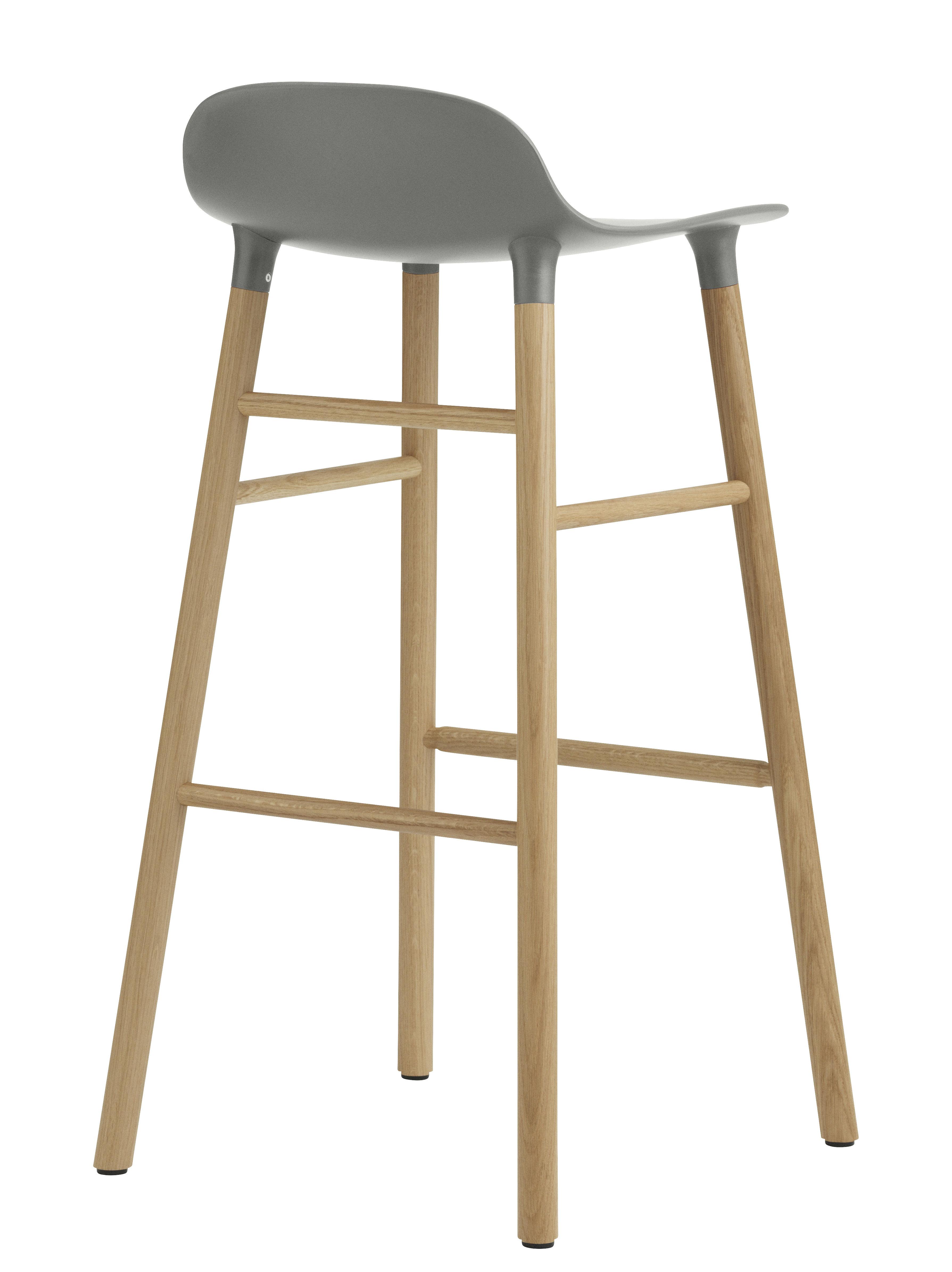 Form Bar Stool H 75 Cm Oak Leg Grey Oak By Normann
