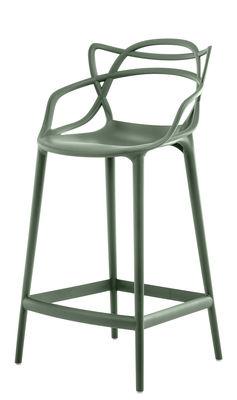 Chaise de bar Masters / H 65 cm - Polypropylène - Kartell vert sauge en matière plastique