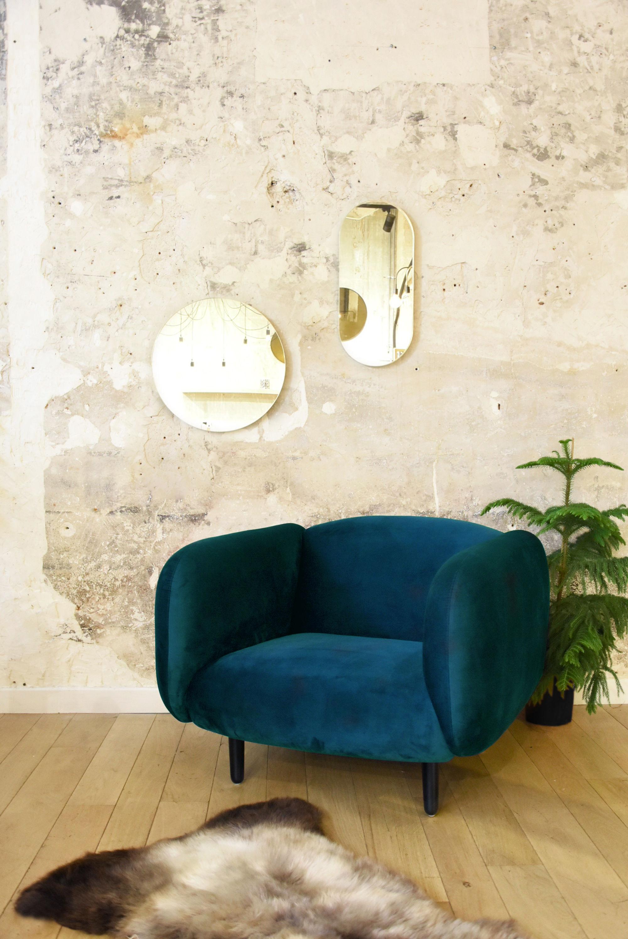 fauteuil rembourr mo ra velours velours vert canard enostudio. Black Bedroom Furniture Sets. Home Design Ideas