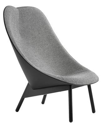Uchiwa Gepolsterter Sessel / Rückenlehne Leder - Hay - Grau,Schwarz,Schwarz gebeizte Eiche