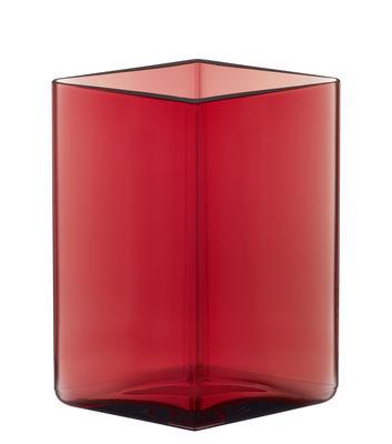 Déco - Vases - Vase Ruutu par R. & E. Bouroullec / L 11,5 x H 14 cm - Iittala - Rouge cranberry - Verre soufflé bouche