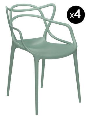 Masters Stapelbarer Sessel 4-er Set - Kartell - Salbeigrün