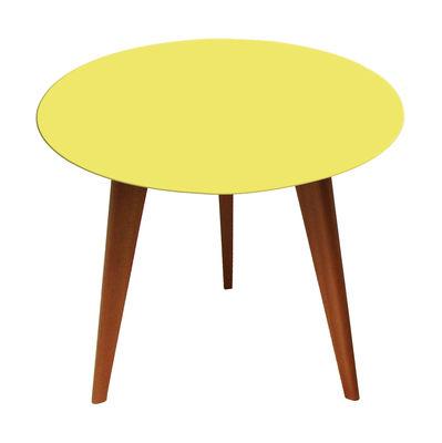 Lalinde Couchtisch rund - klein, Ø 45 cm / Tischbeine aus Holz - Sentou Edition - Gelb,Eiche