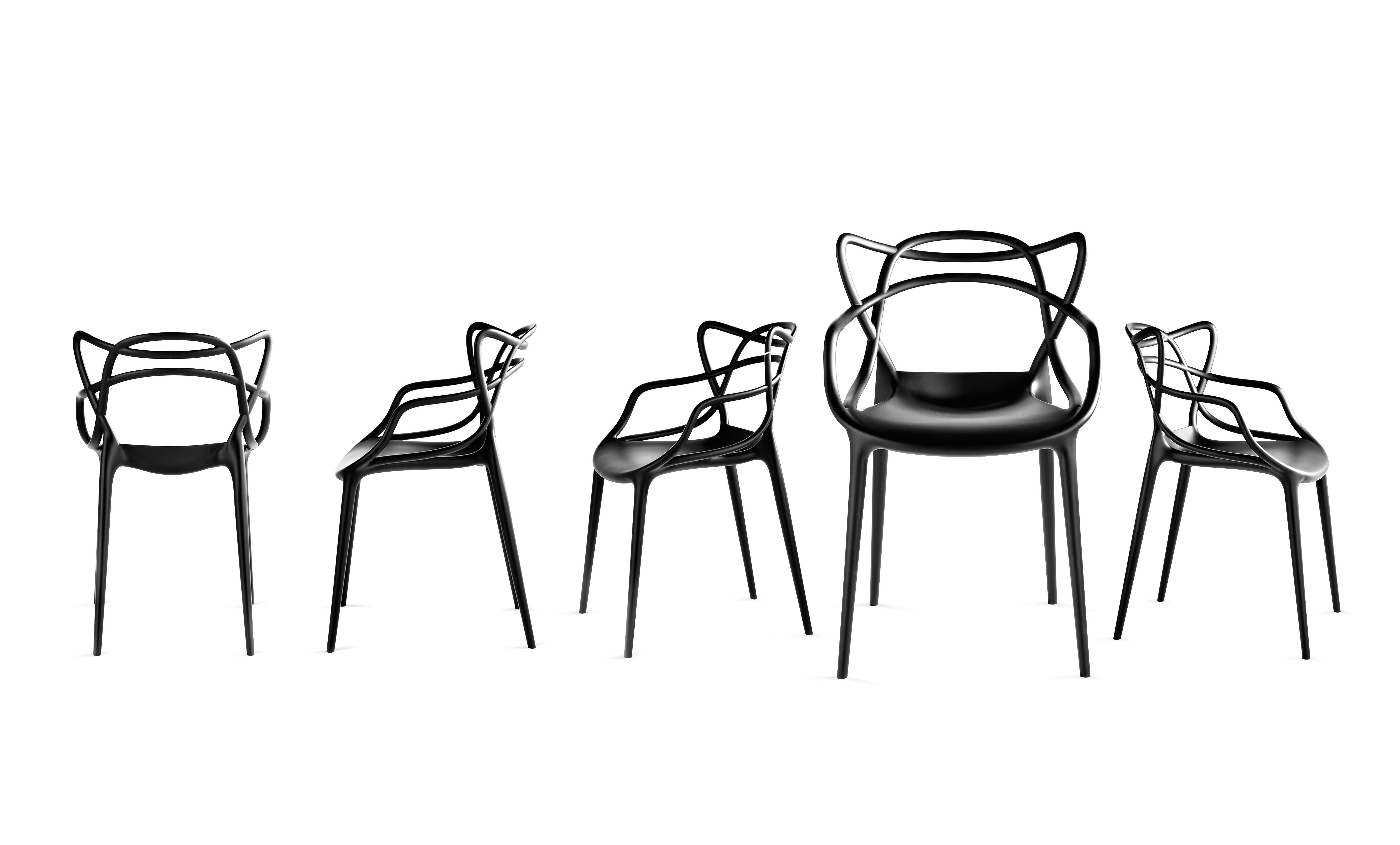 fauteuil masters kartell plastique noir | made in design - Chaises Philippe Starck Kartell