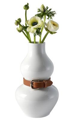 Déco - Vases - Vase Alba / Porcelaine & cuir - Design House Stockholm - Blanc / Cuir marron - Cuir, Porcelaine