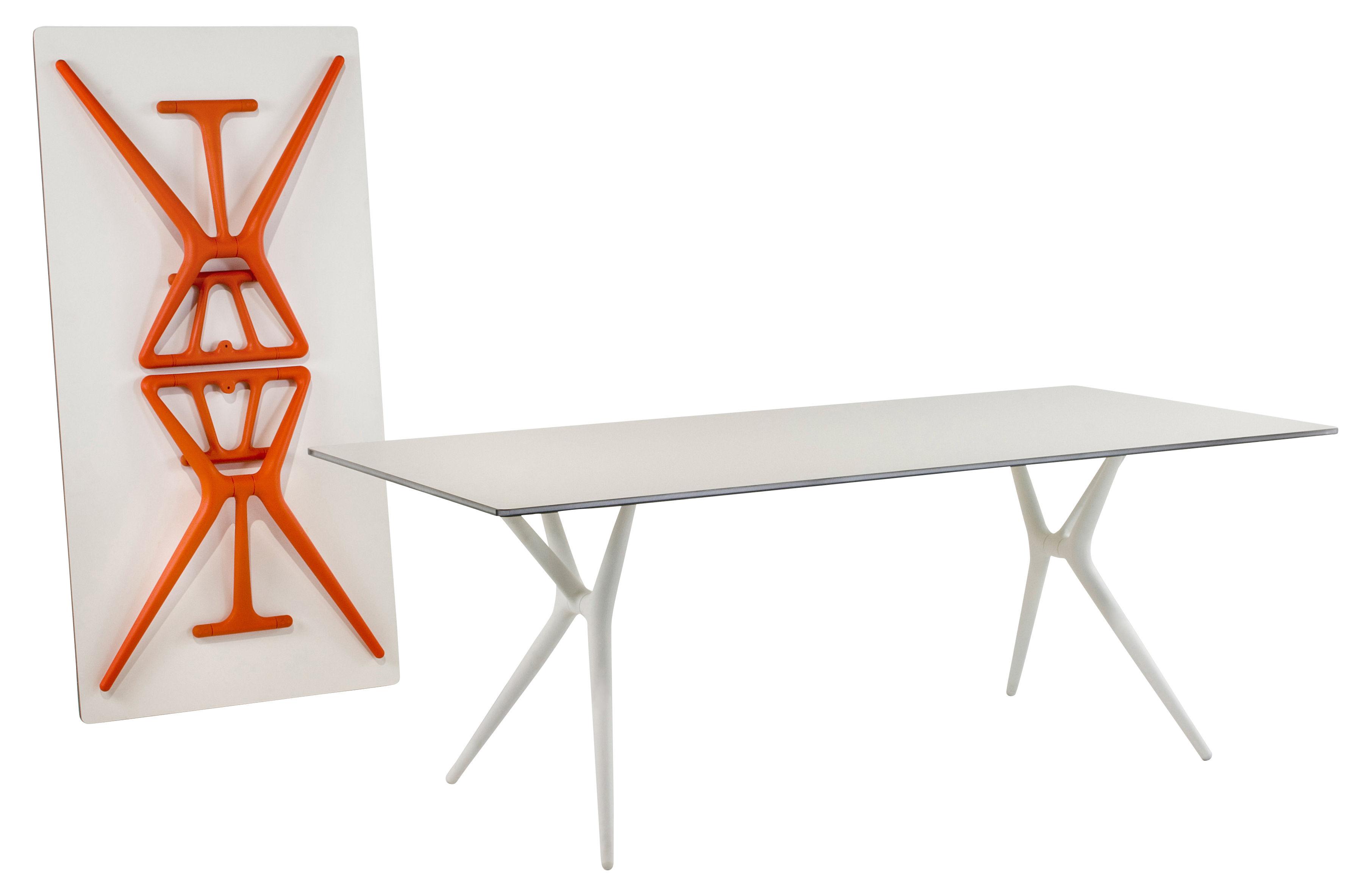 Spoon foldable table 160 x 80 cm white orange feet by for Tavolo pieghevole design