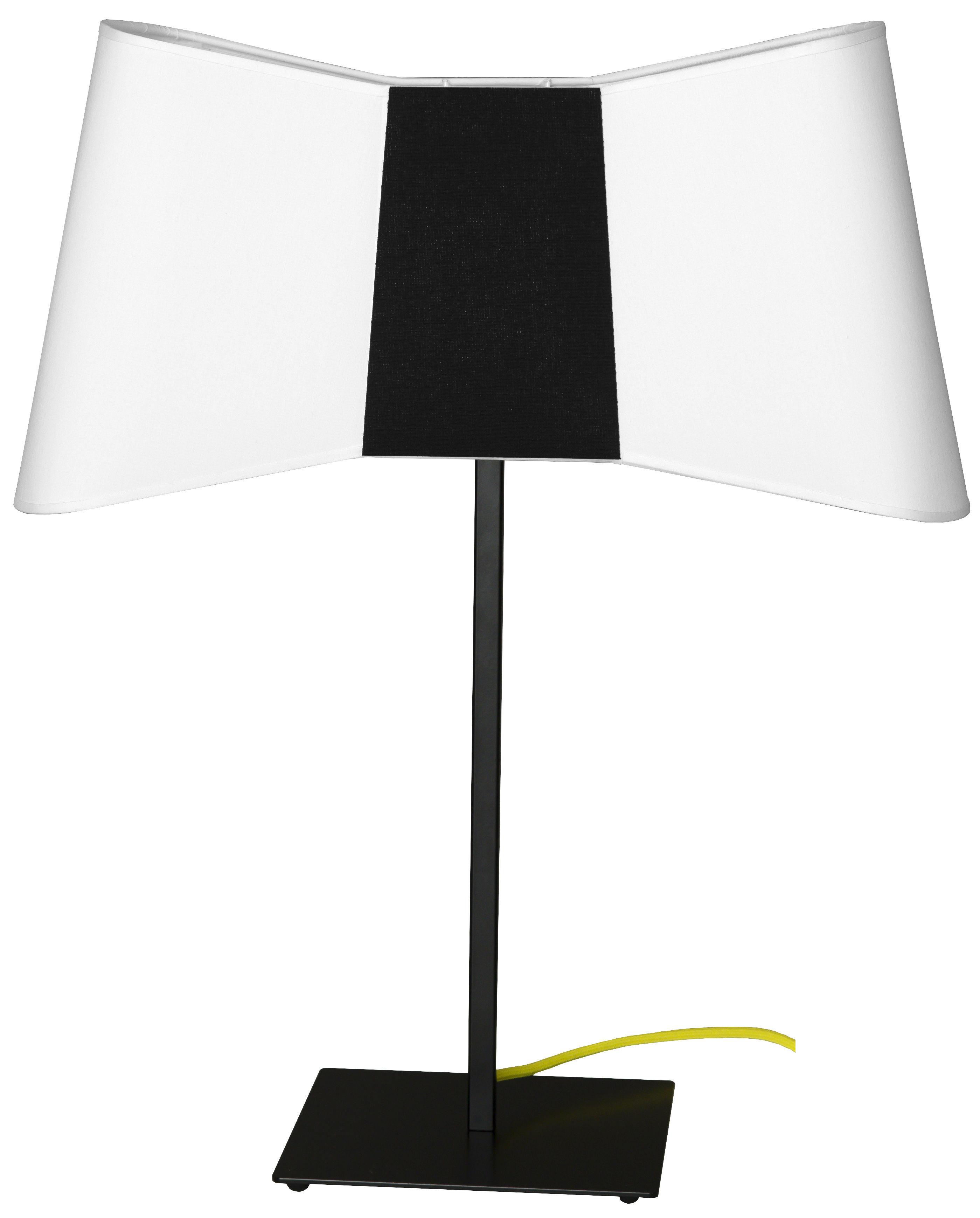 lampe de table grand couture h 60 cm blanc noir c ble jaune designheure. Black Bedroom Furniture Sets. Home Design Ideas
