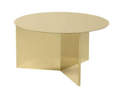 Tavolino Slit Round XL - / Ø 65 cm - Metallo di Hay - Ottone levigato - Metallo