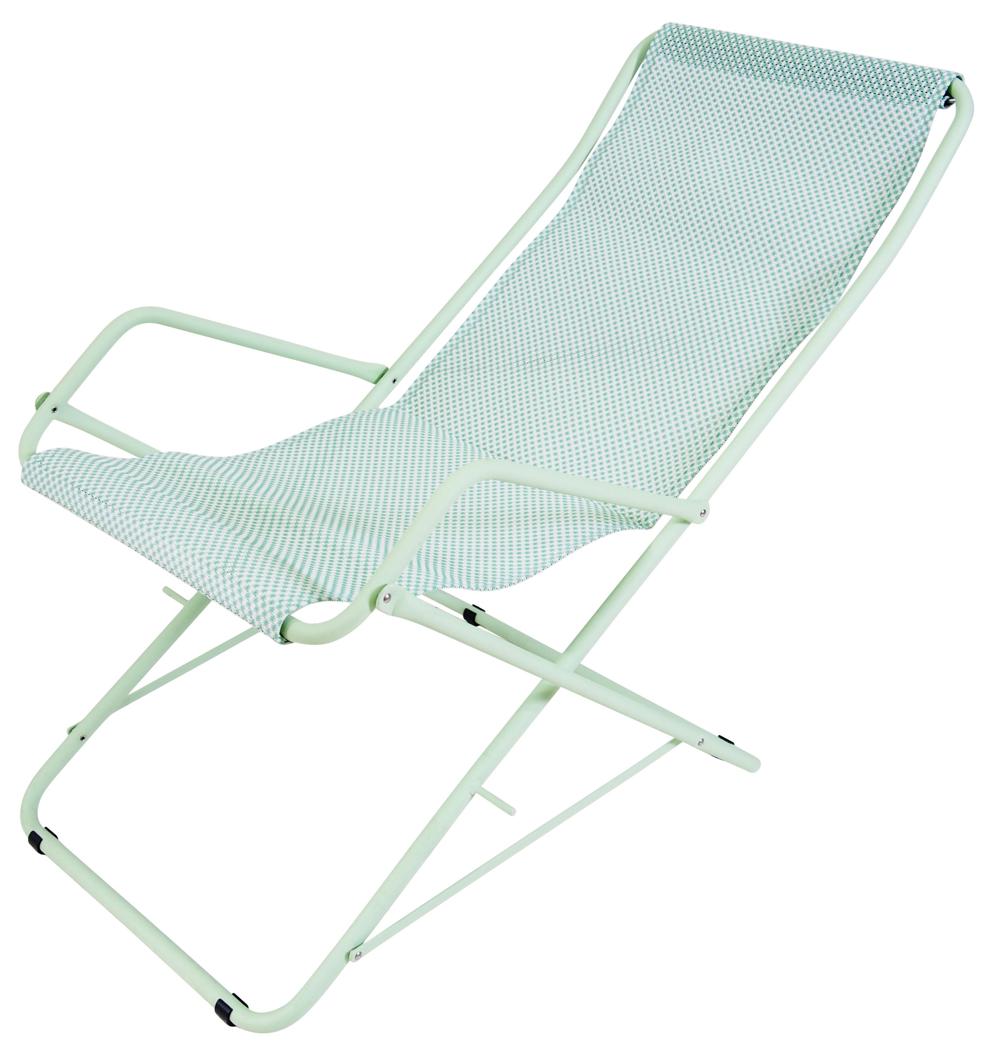 chaise longue bahama pliable toile vert menthe structure verte emu. Black Bedroom Furniture Sets. Home Design Ideas