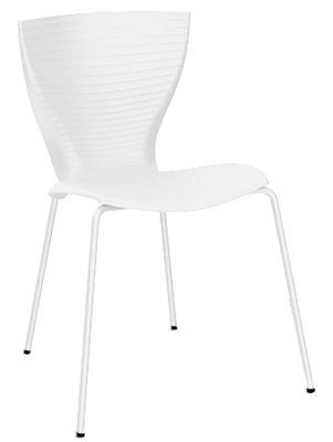 Chaise empilable Gloria / Plastique & pieds métal - Slide blanc en matière plastique