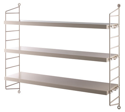 Furniture - Bookcases & Bookshelves - String Pocket Shelf - / L 60 x H 50 cm by String Furniture - Sand / Sand mounting - Lacquered steel, Painted MDF