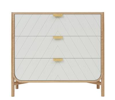 Cassettiera Marius / L 100 x  H 90 cm - Hartô - Grigio chiaro,Rovere naturale,Ottone - Legno