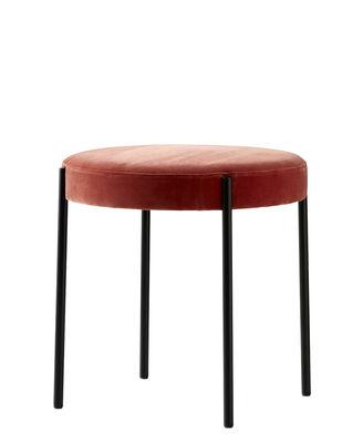 Tabouret Series 430 / Rembourré - Velours - Verpan noir,rose-orangé en tissu