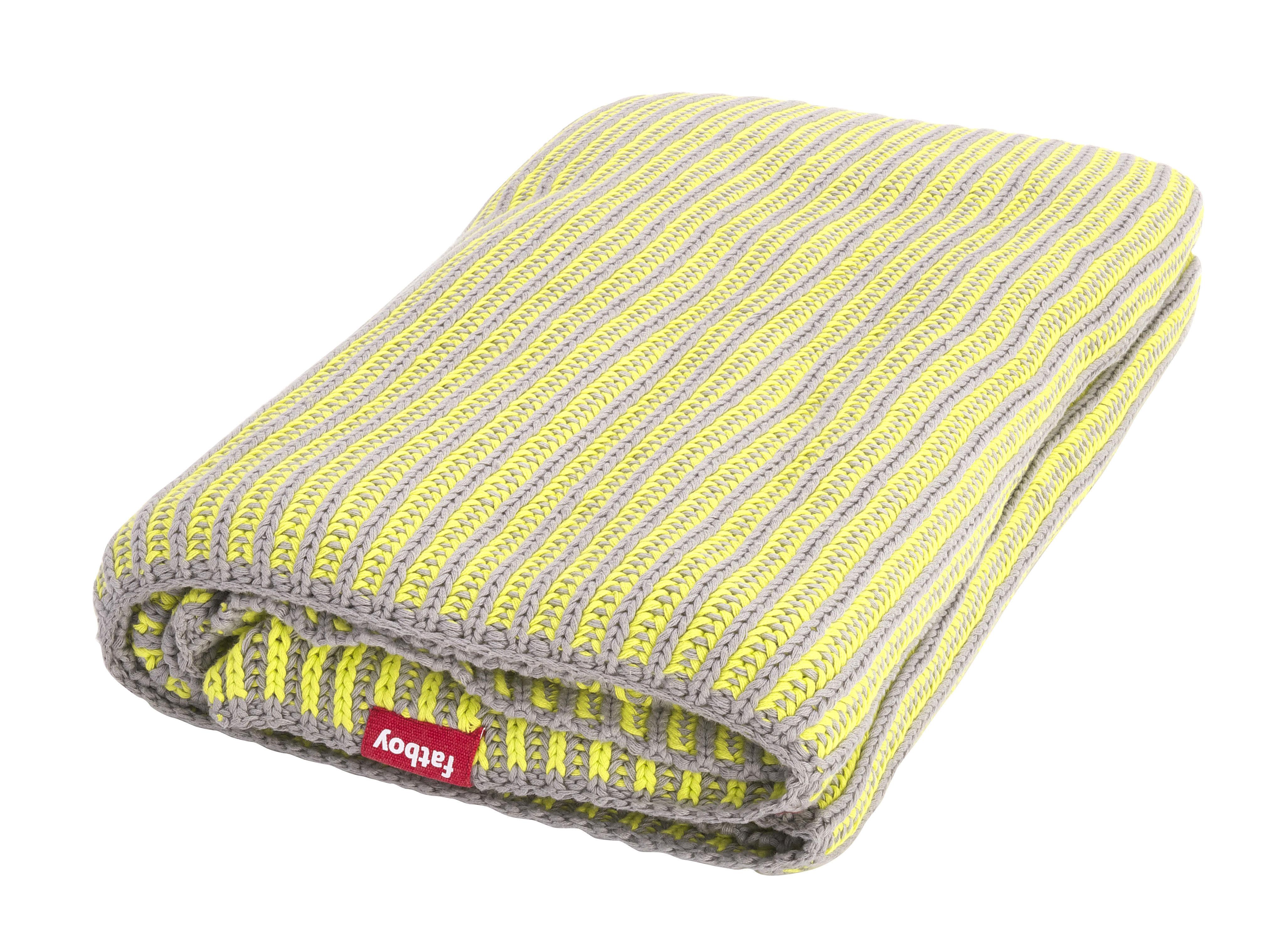 plaid klaid 130 x 200 cm gris clair c tes jaune fluo. Black Bedroom Furniture Sets. Home Design Ideas