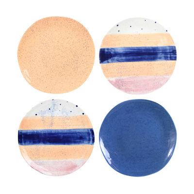 Assiette Brush / Set de 4 - Porcelaine - & klevering multicolore en céramique