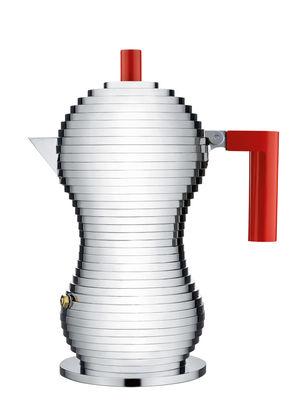Arts de la table - Thé et café - Cafetière italienne Pulcina / Induction - 3 tasses - Alessi - 3 tasses / Rouge & chromé - Fonte d'aluminium, Plastique
