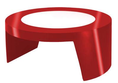 Tavolino Tao di Slide - Rosso laccato - Vetro