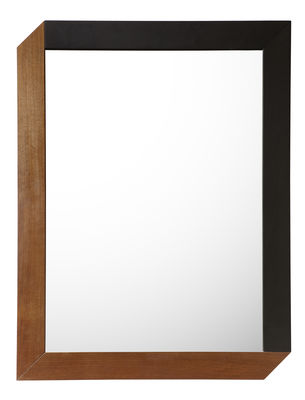 Déco - Miroirs - Miroir mural Tusa / 63 x 83 cm - Internoitaliano - 63 x 83 cm / Noyer & noir - Noyer naturel, Noyer teinté, Verre