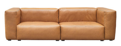 Divano destro Mags Soft - / 2 a 3 posti - L 228 cm / cuoio di Hay - Cognac - Pelle