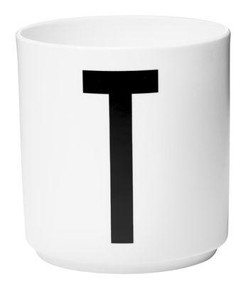 Mug Arne Jacobsen / Porcelaine - Lettre T - Design Letters blanc en céramique