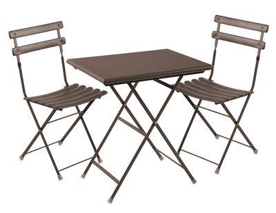 Set tavolo e sedie Arc en Ciel - / Lotto da 2 sedie + 1 tavolo 70x50cm di Emu - Ferro antico - Metallo