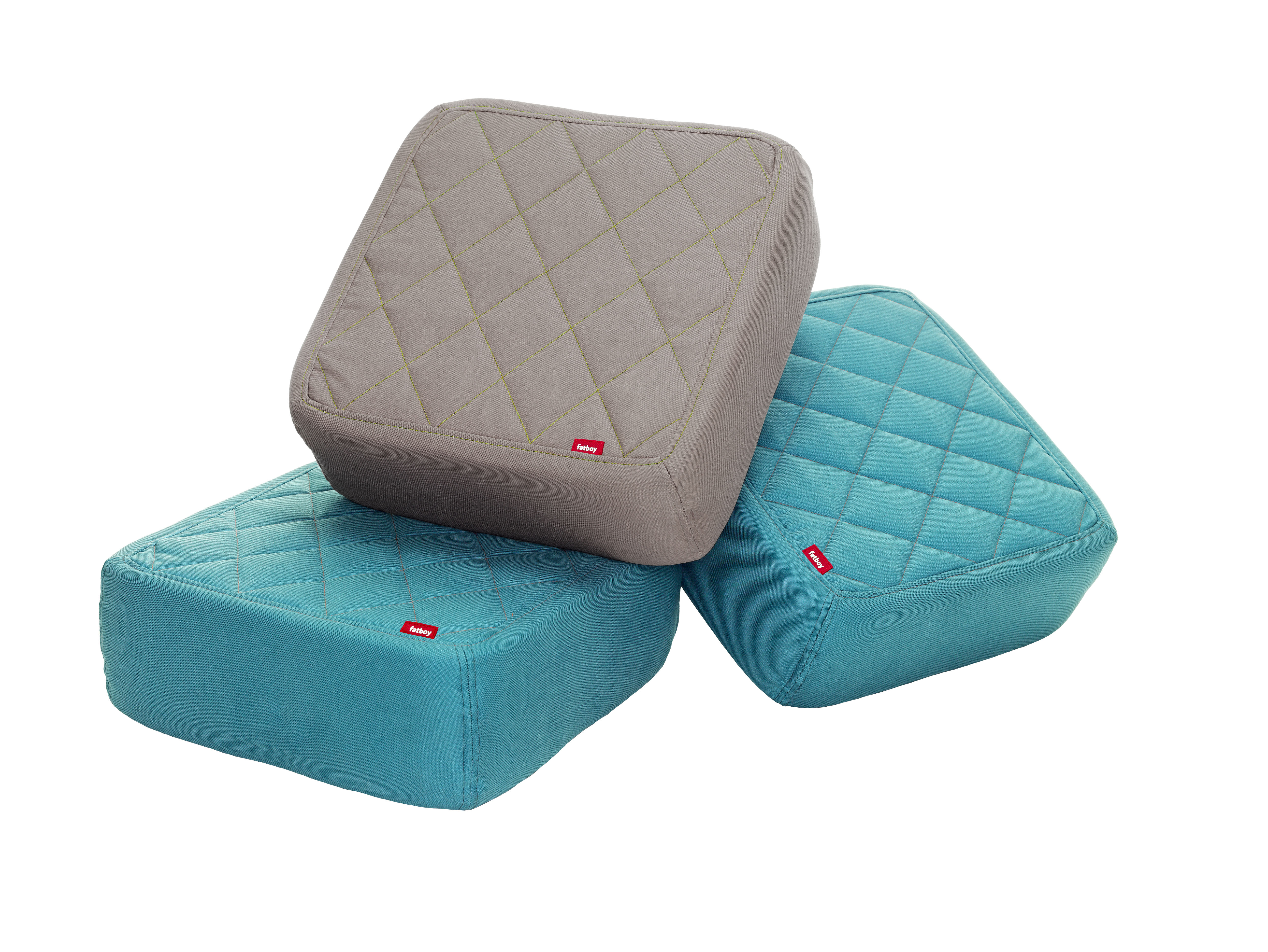 baboesjka pouf set 3 floor cushions taupe blue by fatboy. Black Bedroom Furniture Sets. Home Design Ideas
