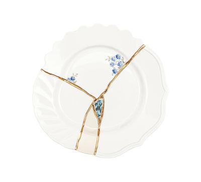 Assiette à dessert Kintsugi / Porcelaine & or fin - Seletti blanc,bleu,or en céramique