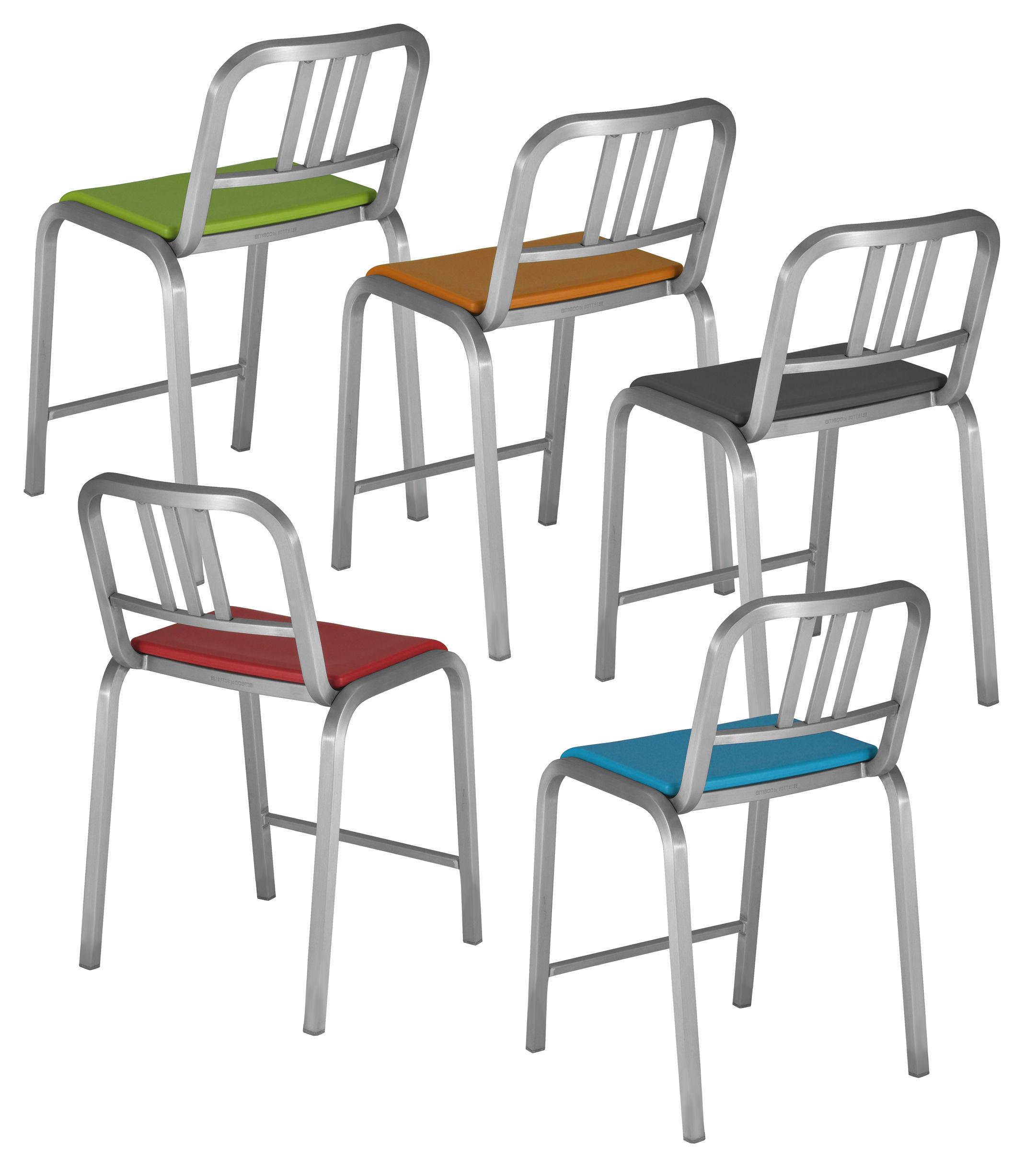 chaise de bar nine o assise rembourr e h 60 cm aluminium mat orange emeco. Black Bedroom Furniture Sets. Home Design Ideas