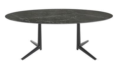 Multiplo indoor/outdoor - Tisch / oval - 192 x 118 cm / Steinzeug mit Marmor-Optik - Kartell - Schwarz