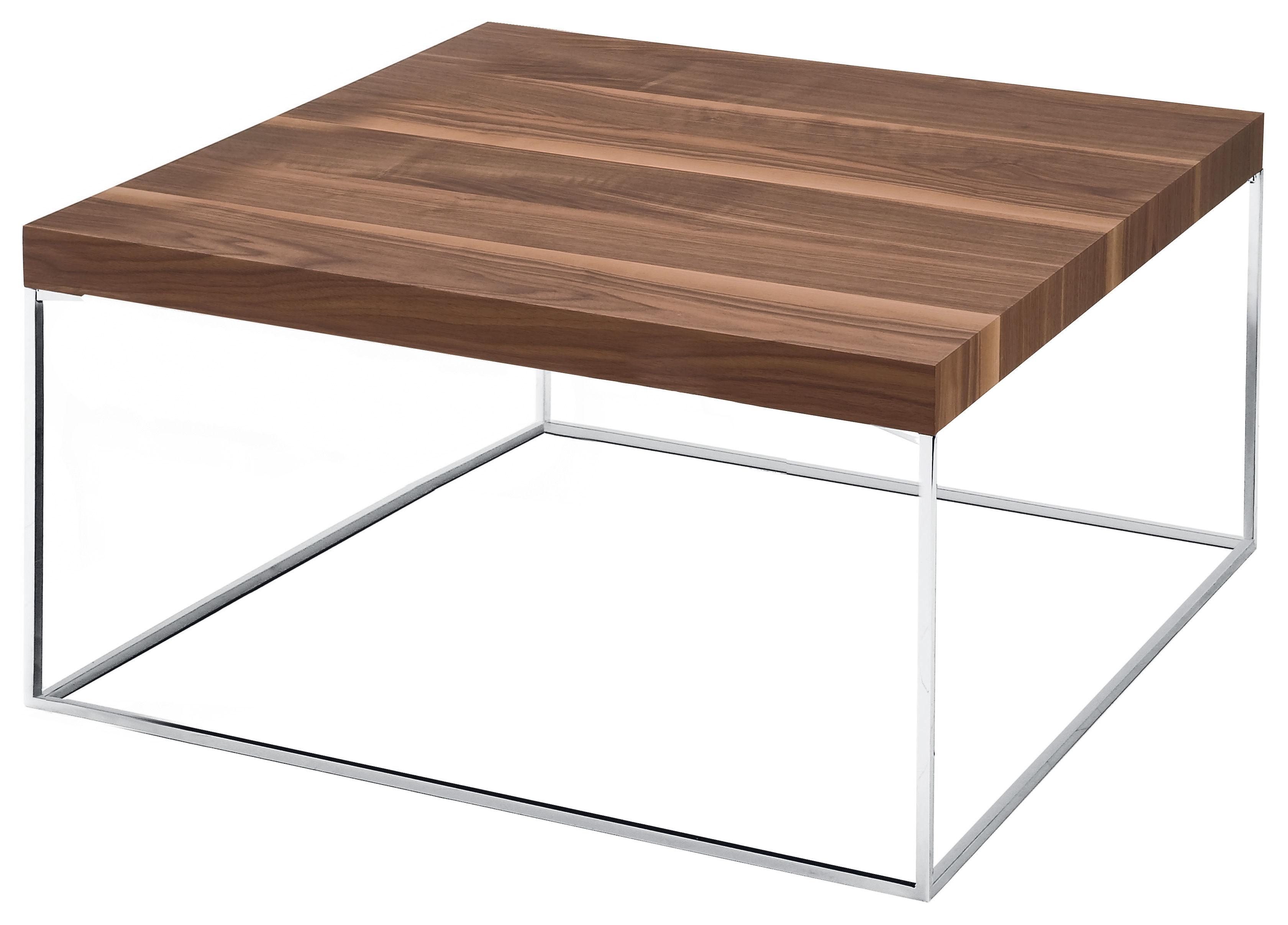 Oliver coffee table walnut walnut canaletto chromium for Coffee table 80cm x 80cm